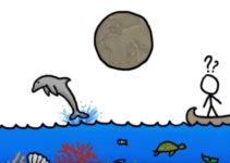 desenho infantil de água barco e peixes
