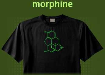 camiseta estampa molecula morfina