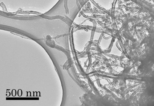 microscopia eletronica de uma amostra de nanotubos