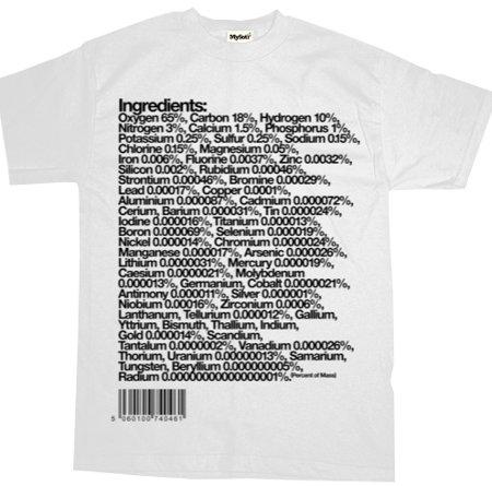 camiseta ingredientes elementos corpo humano