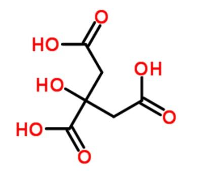 estrutura química do ácido cítrico