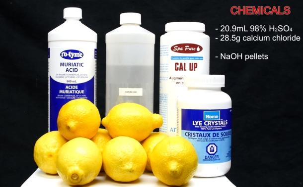 frascos de reagentes e pilha de limões