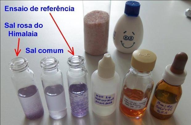 frascos de reagentes e resultados
