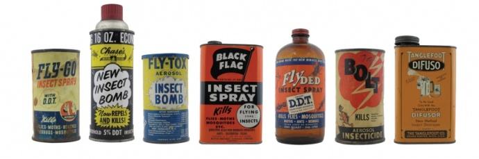 frascos com veneno DDT
